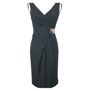 Ann Klein New York Black Stretch Sequin Dress A49